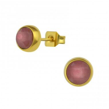 Gold Surgical Steel Round 6mm Ear Studs With Semi Precious - 316L Surgical Grade Stainless Steel Steel Ear Studs A4S34483
