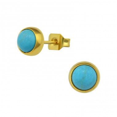 Gold Surgical Steel Round 6mm Ear Studs With Semi Precious - 316L Surgical Grade Stainless Steel Steel Ear Studs A4S34484