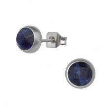Surgical Steel Round 6mm Ear Studs With Semi Precious - 316L Surgical Grade Stainless Steel Steel Ear Studs A4S34486
