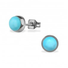Surgical Steel Round 6mm Ear Studs With Semi Precious - 316L Surgical Grade Stainless Steel Steel Ear Studs A4S34487