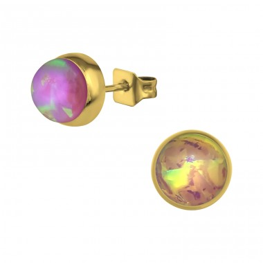 Gold Surgical Steel Round 7mm Ear Studs With Synthetic Opal - 316L Surgical Grade Stainless Steel Steel Ear Studs A4S34488