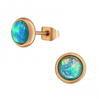 Rose Gold Surgical Steel Round 7mm Ear Studs With Synthetic Opal - 316L Surgical Grade Stainless Steel Steel Ear Studs A4S34489
