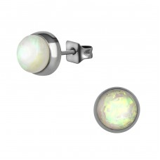 Surgical Steel Round 7mm Ear Studs With Synthetic Opal - 316L Surgical Grade Stainless Steel Steel Ear Studs A4S34490