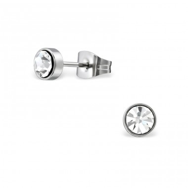 Surgical Steel Round 5mm Ear Studs With Crystal - Crystal + 316L Surgical Grade Stainless Steel Steel Ear Studs A4S34491