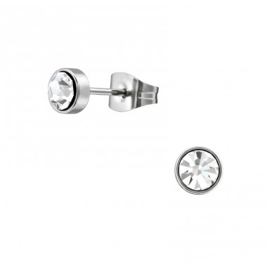 Surgical Steel Round 5mm Ear Studs With Crystal - 316L Surgical Grade Stainless Steel + Crystal Steel Ear Studs A4S34491