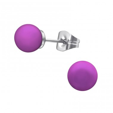 Surgical Steel Round 6mm Ear Studs With Pearl - 316L Surgical Grade Stainless Steel Steel Ear Studs A4S34492