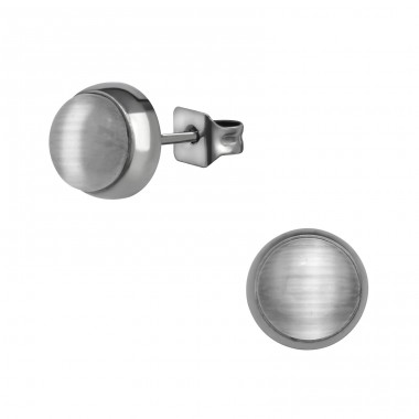 Surgical Steel Round 7mm Ear Studs With Cat Eye - 316L Surgical Grade Stainless Steel Steel Ear Studs A4S34493