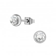 Surgical Steel Round 5mm Ear Studs With Semi Precious - 316L Surgical Grade Stainless Steel Steel Ear Studs A4S34494
