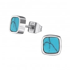 Square - 316L Surgical Grade Stainless Steel Steel Ear Studs A4S34755