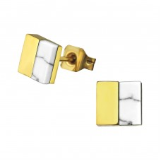 Square - 316L Surgical Grade Stainless Steel Steel Ear Studs A4S34756
