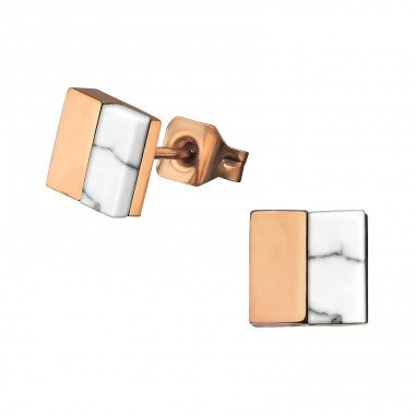 Square - 316L Surgical Grade Stainless Steel Steel Ear Studs A4S34757