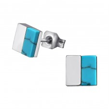 Square - 316L Surgical Grade Stainless Steel Steel Ear Studs A4S34761