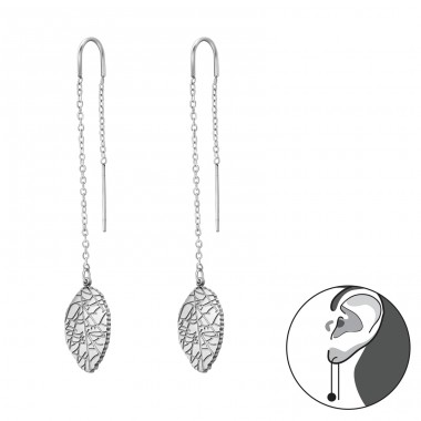 Thread Through Leaf - 316L Surgical Grade Stainless Steel Steel Ear Studs A4S35742