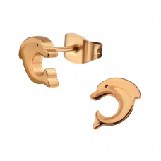 Rose Gold Surgical Steel Dolphin Ear Studs - 316L Surgical Grade Stainless Steel Steel Ear Studs A4S35967