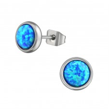 High Polish Surgical Steel Round 6mm Ear Studs With Opal - 316L Surgical Grade Stainless Steel Steel Ear Studs A4S37410