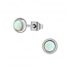 High Polish Surgical Steel Round 4mm Ear Studs With Opal  - 316L Surgical Grade Stainless Steel Steel Ear Studs A4S37411