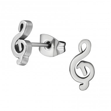 G Clef - 316L Surgical Grade Stainless Steel Steel Ear Studs A4S5839