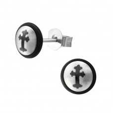 Cross - 316L Surgical Grade Stainless Steel Steel Ear Studs A4S7101