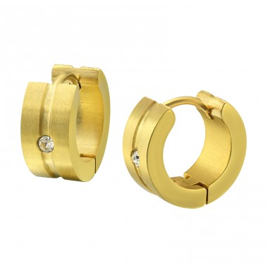 Gold Surgical Steel Huggies With Crystal - 316L Surgical Grade Stainless Steel Steel Earrings A4S35973