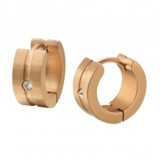 Rose Gold Surgical Steel Huggies With Crystal - 316L Surgical Grade Stainless Steel Steel Earrings A4S35974