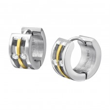 Two Tone - 316L Surgical Grade Stainless Steel Steel Earrings A4S37720