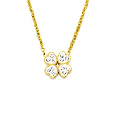Clover - 316L Surgical Grade Stainless Steel Steel Necklaces A4S14645