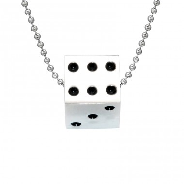 Dice - 316L Surgical Grade Stainless Steel Steel Necklaces A4S28401