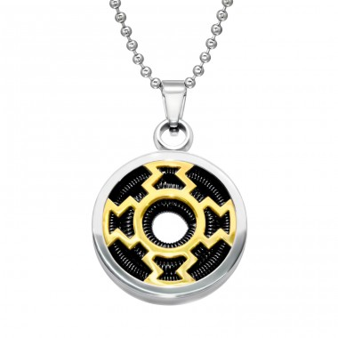 Round - 316L Surgical Grade Stainless Steel Steel Necklaces A4S28436