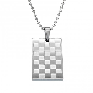Chequered - 316L Surgical Grade Stainless Steel Steel Necklaces A4S28442