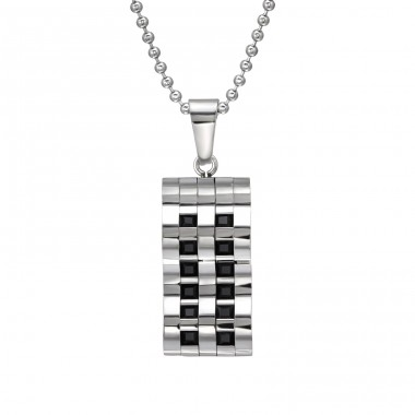 Waved Tag - 316L Surgical Grade Stainless Steel Steel Necklaces A4S28449