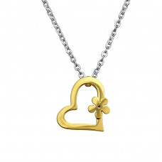 Flower Heart - 316L Surgical Grade Stainless Steel Steel Necklaces A4S29999