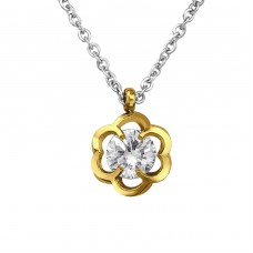 Jeweled Flower - 316L Surgical Grade Stainless Steel Steel Necklaces A4S30001