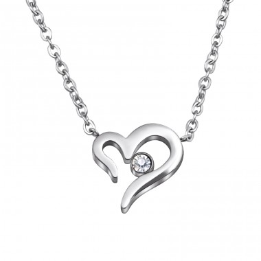 Jeweled Heart - 316L Surgical Grade Stainless Steel Steel Necklaces A4S30023