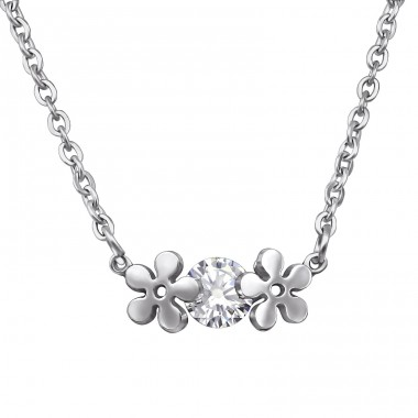 Flower - 316L Surgical Grade Stainless Steel Steel Necklaces A4S30028