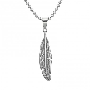 Feather - 316L Surgical Grade Stainless Steel Steel Necklaces A4S31627