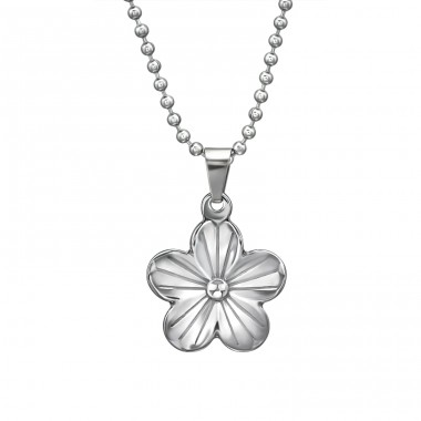 Flower - 316L Surgical Grade Stainless Steel Steel Necklaces A4S31628