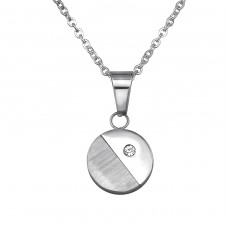 Jeweled Round - Crystal + 316L Surgical Grade Stainless Steel Steel Necklaces A4S31819