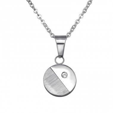 Jeweled Round - 316L Surgical Grade Stainless Steel + Crystal Steel Necklaces A4S31819