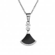 Trapezoid - Cubic Zirconia + 316L Surgical Grade Stainless Steel Steel Necklaces A4S32568
