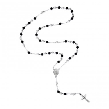 Cross With Medallion - Zinc + 316L Surgical Grade Stainless Steel Steel Necklaces A4S7105
