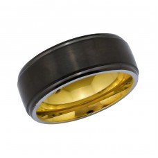 Black And Gold - 316L Surgical Grade Stainless Steel Steel Rings A4S34138