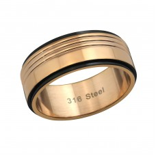 Two Tone - 316L Surgical Grade Stainless Steel Steel Rings for Men A4S37722