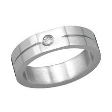 High Polish Surgical Steel Single Stone Ring With Cubic Zirconia - 316L Surgical Grade Stainless Steel Steel Rings A4S38557