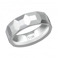 Tungsten Faceted Ring - Tungsten Steel Rings A4S38567