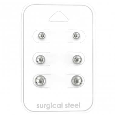 Ball 3Mm, 4mm And 6mm - 316L Surgical Grade Stainless Steel Steel Jewellery Sets A4S28503