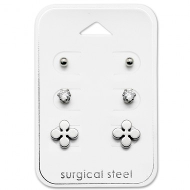 Flower - 316L Surgical Grade Stainless Steel Steel Jewellery Sets A4S28508