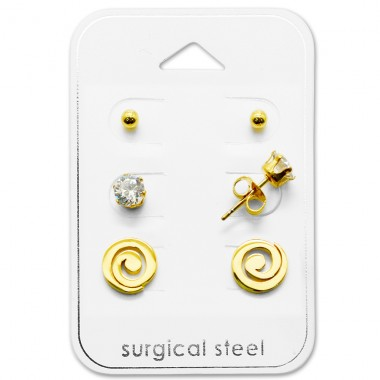 Spiral - 316L Surgical Grade Stainless Steel Steel Jewellery Sets A4S28516