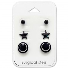 Black - 316L Surgical Grade Stainless Steel Steel Jewellery Sets A4S28531