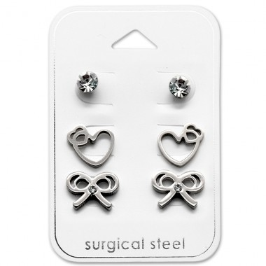 Heart And Bow - 316L Surgical Grade Stainless Steel Steel Jewellery Sets A4S28533