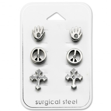 Peace - 316L Surgical Grade Stainless Steel Steel Jewellery Sets A4S28534